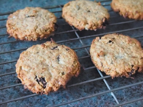 Baked oaty biscuits on the rack