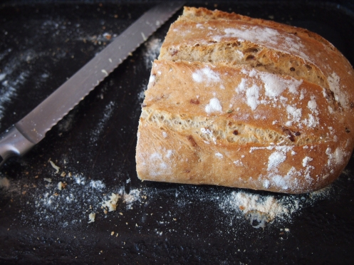 Red onion and rosemary bread, cut