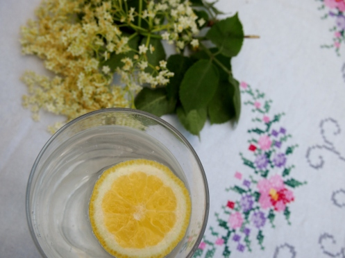 Elderflower cordial in a glass