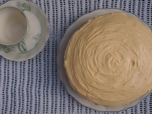 Vegan custard sponge cake overhead