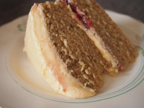 Vegan custard sponge cake slice